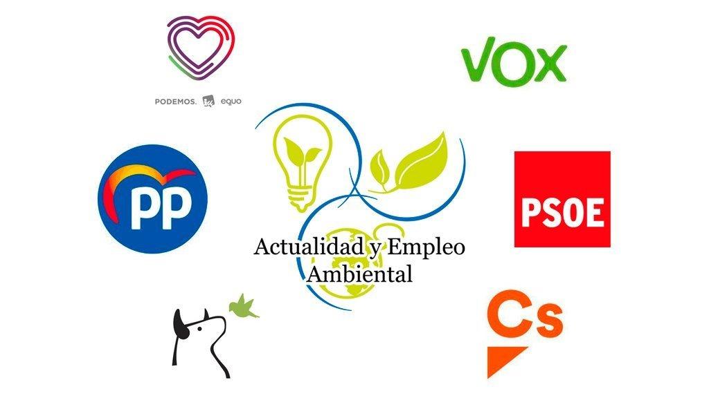 Medio Ambiente en los programas electorales de PP, PSOE, Unidsa Podemos, Ciudadanos, VOX y PACMA