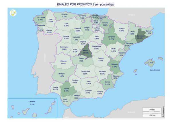 Empleo por provincias en porcentaje del total (Ofertas publicadas en Ambinnovación.com 2013-2018)
